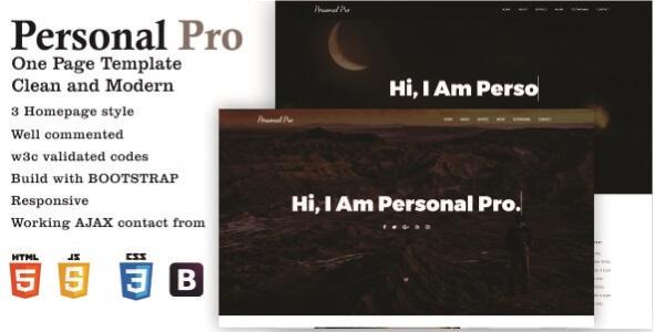 Personal Pro - One Page Portfolio Template            TFx Malone Camille