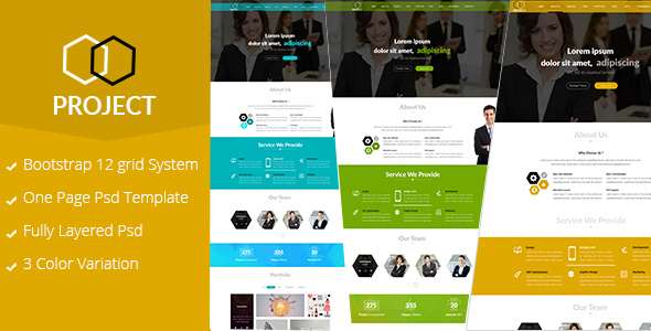 Project-One Page Corporate PSD template TFx Zarathustra Abe