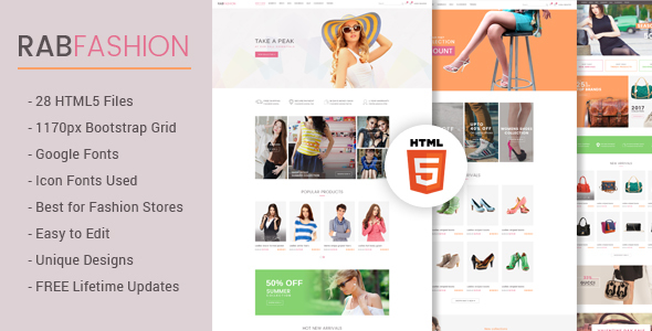 RAB - Fashion eCommerce HTML5 Template            TFx Peter Ashley