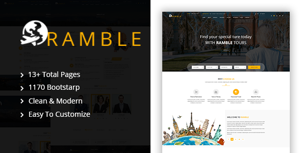 Ramble - Creative Travel Agency HTML Template            TFx Patsy Sawyer