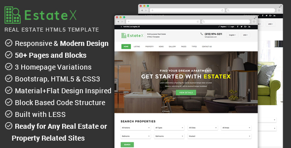 Real Estate Website Template – EstateX TFx Dyson Issy