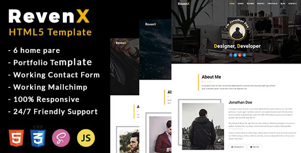 RevenX - Personal Portfolio Template            TFx Joel Sidney