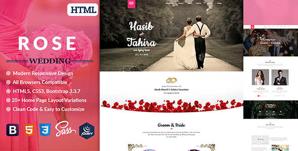 Rose – Wedding Responsive HTML5 Template            TFx Beau Jared