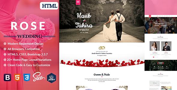 Rose - Wedding Responsive HTML5 Template            TFx Beau Jared