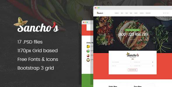 Sancho's - Mexican Food Restaurant and Delivery Service PSD Template            TFx Kyle Kelley