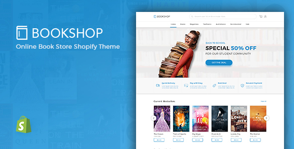 Shopify Theme For Books & Media Online Store, Downloadable Products - BookShop            TFx Hikaru Albin