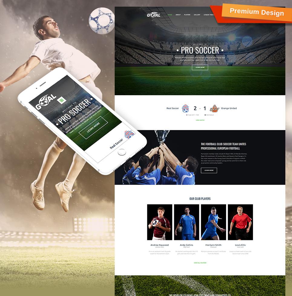 Soccer Club Premium Moto CMS 3 Template TMT Brand Nigel
