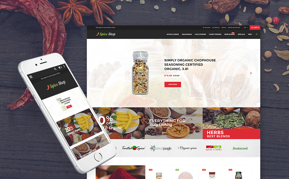 Spice Shop - Seasonings and Herbs Store Responsive Magento Theme TMT Everett Garen