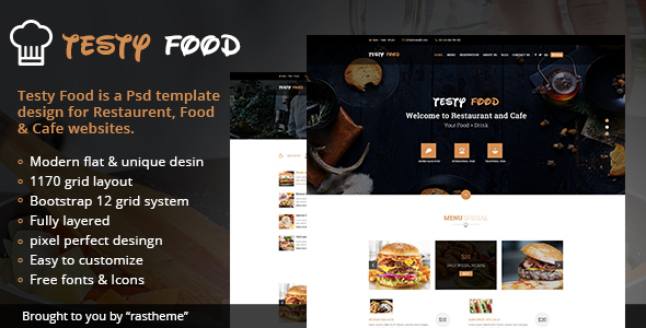 Testy Food - Cafe, Bar, Food & Restaurant PSD Template TFx Vahagn Christopher