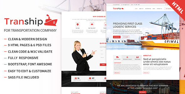 Tranship - Shipping / Logistics / Transportation / Responsive HTML Template            TFx Avery Ern