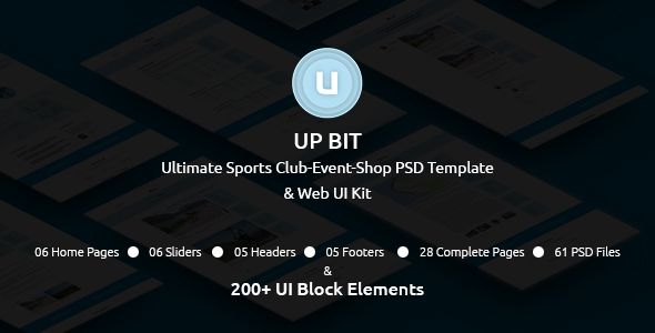 UP BIT - The Ultimate Sports Club-Event-Shop PSD Template and Web UI Kit            TFx Takuya Laird