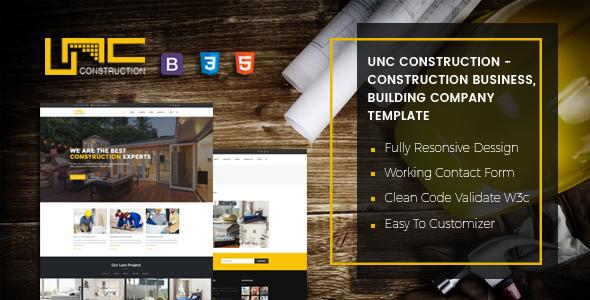 Unc Construction - Construction Business, Building Company Template TFx Wilbur Quincey