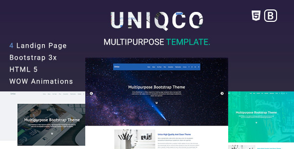 Uniqco - Multipurpose Responsive Bootstrap Landing page Template.            TFx Masterman Presley