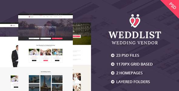 Weddlist – Wedding Vendor Directory PSD Template            TFx Lavern Syd