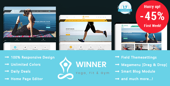 Winner - Yoga Gym & Fitness Responsive Prestashop 1.7 Theme            TFx Dunstan Hamilton