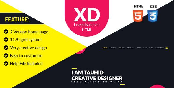 XD Freelancer- Personal/Agency Portfolio One Page HTML Template            TFx Lindsay Brad