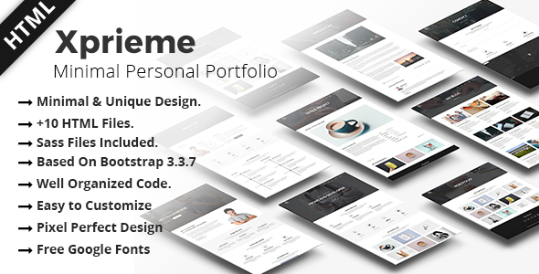 Xprieme - Minimal Personal Portfolio HTML Template. TFx Aiden Mick