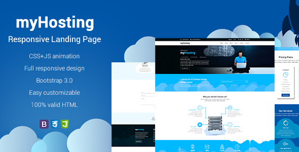 myHosting - Bootstrap Landing Page HTML Template            TFx Amyas Reg
