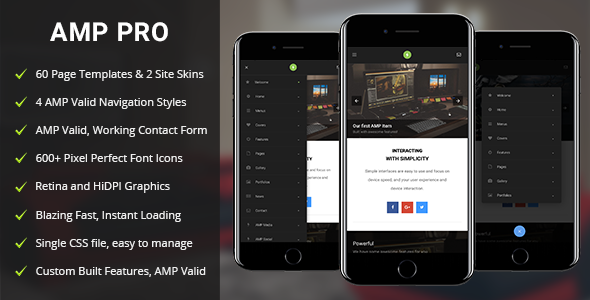AMP Pro Mobile | Mobile Google AMP Template - Mobile Site Templates TFx Kurtis Morgan