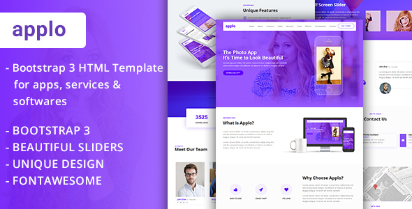 APPLO – Bootstrap 3 One Page Multipurpose HTML Template For Apps Services  Softwares – Software Technology TFx Kevork Nate