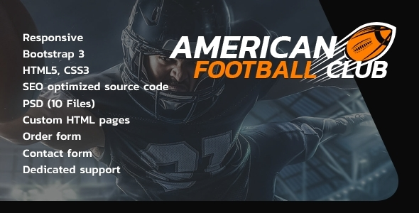 American Football HTML Website Template - Miscellaneous Site Templates TFx Franklyn Nathan