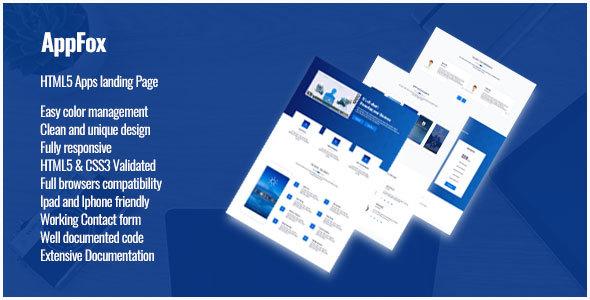 Appfox - App Landing Page - Technology Site Templates TFx Denis Trueman