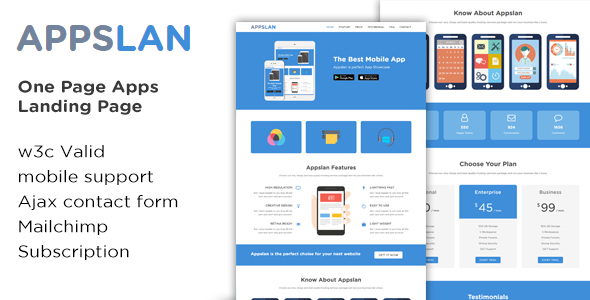 Appslan - One Page App Landing Page - Software Technology TFx Arden Frederick