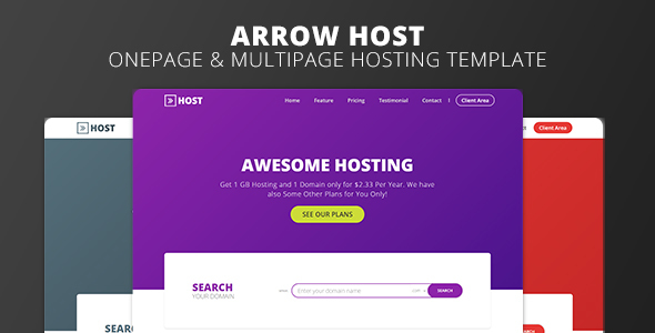 Arrow Host – One Page and Multi Page Web Hosting Template – Hosting Technology TFx Albin Jody