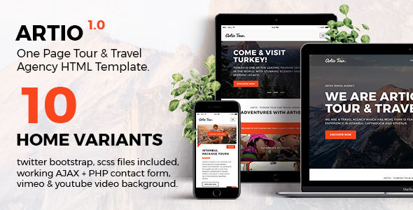 Artio - Tour & Travel Agency HTML Template - Travel Retail TFx Wibawa Rahman