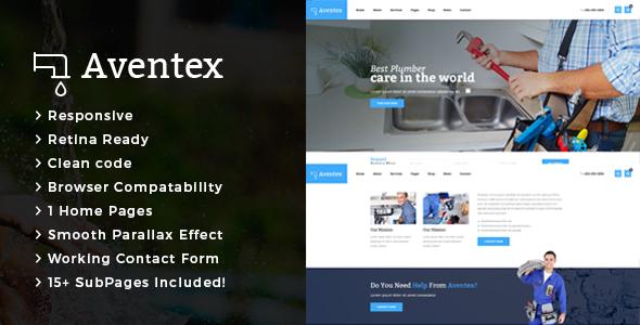 Aventex – Plumber and Construction HTML Template – Business Corporate TFx Garth Ogden