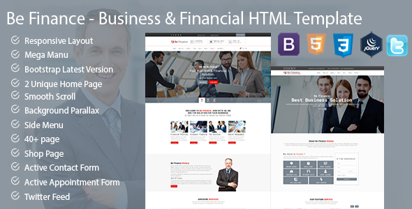 Be Finance Business and Finance HTML Template - Business Corporate TFx Muhammad Sacheverell