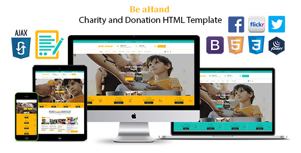 Be aHand Charity and Donation HTML Template - Charity Nonprofit TFx Billie Montgomery