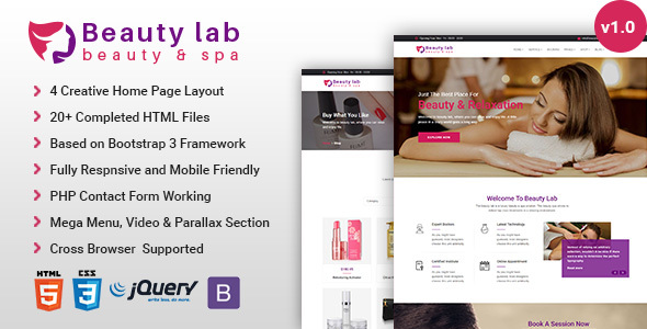 Beauty Lab - Beauty & Spa HTML5 Template - Health & Beauty Retail TFx Darell Huey