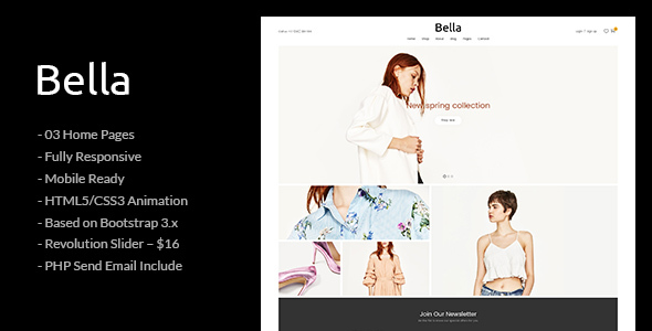 Bella - Responsive Premium Fashion eCommerce and Blog HTML5 Template - Fashion Retail TFx Jed Cosmo