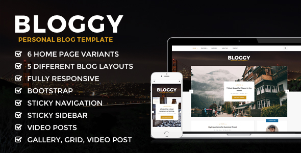 Bloggy - Personal Blog Template - Creative Site Templates TFx Clint Gord