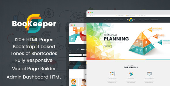 BooKeeper - Finances/Accounting HTML Template with Builder and Dashboard frontend - Business Corporate TFx Akio Mick