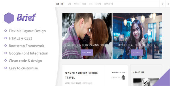 Brief & Blog - Personal Blog Template - Personal Site Templates TFx Toby Alfie