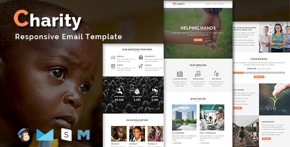 CHARITY – Responsive Email Template With Stamp Ready Builder Access – Newsletters Email Templates TFx Nowell Leigh