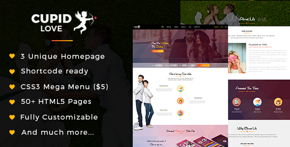CUPID LOVE - Dating Website HTML5 Template - Business Corporate TFx Aiden Wilf