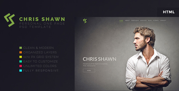 Chris Shawn – One Page HTML Template – Personal Site Templates TFx Kendall Linford