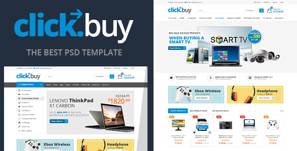 Clickbuy – Digital Ecommerce PSD Template - Retail PSD Templates TFx Orrell Craig
