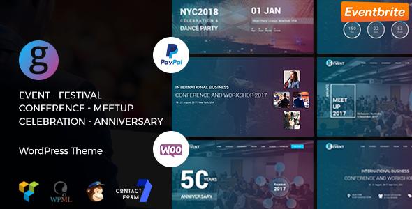 Conference / Meetup / Festival Event WordPress Theme | G-Event WP Theme - Events Entertainment TFx Ali Daniel