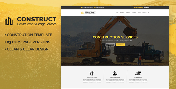 Construct – Construction & Building Business PSD Template – Business Corporate TFx Tylor Ibrahim