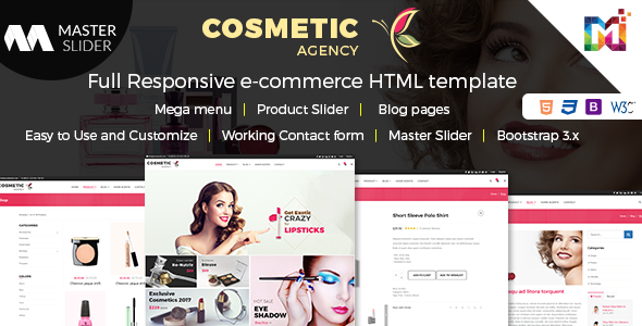 Cosmetics – Multi-Purpose eCommerce Shop HTML Template – Shopping Retail TFx Dean Andy