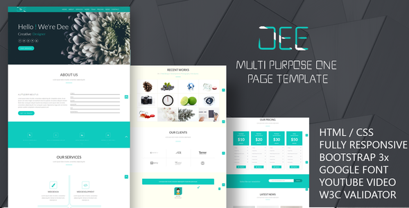 Dee-Personal One Page Template - Creative Site Templates TFx Reg Tristan