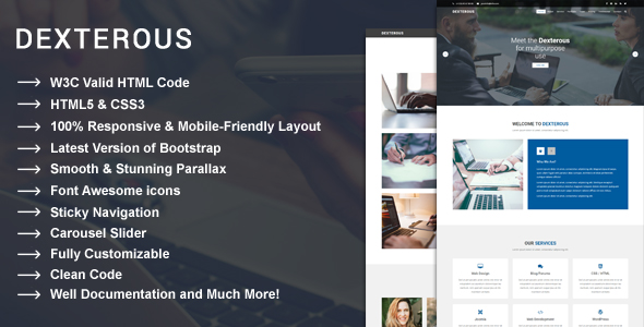 Dexterous – Multipurpose Corporate and Business HTML5 Template – Corporate Site Templates TFx Wayna Buster
