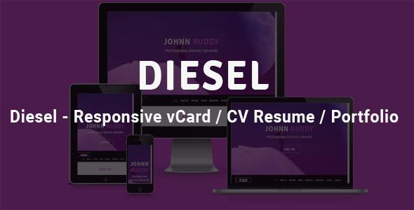 Diesel - Responsive vCard  / CV Resume /  Portfolio - Retail Landing Pages TFx Wat Josh
