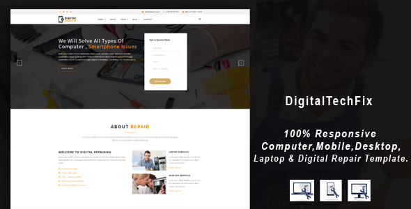 Digital Tech Fix -  Multipurpose Mobile, Computer, Electronic Servicing and Repairing HTML Template - Computer Technology TFx Jerrold Jere