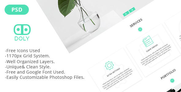 Doly - Creative One Page PSD Template - Creative PSD Templates TFx Darrell Eko