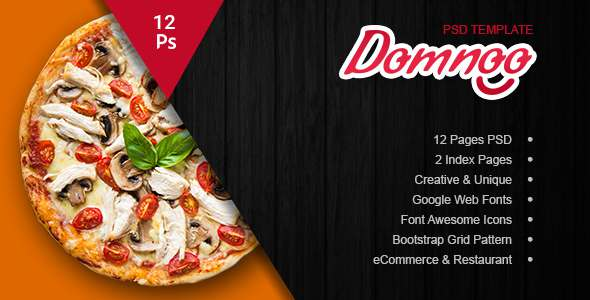 Domnoo Pizza & Restaurant PSD Template - Food Retail TFx Mel Dave